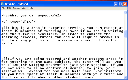 HTML assignment 2 - Campus Tutor web page