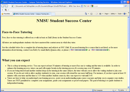Assignment 2 Campus Tutoring Service Web Site